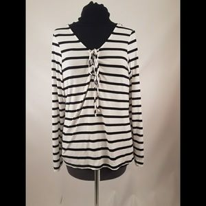 Rue 21 Black & White Stripe Top